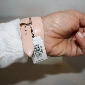 Michael Kors Accessories - MICHAEL KORS DREW WATCH DOUBLE WRAP PINK LEATHER